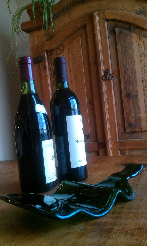 Wine rack made from a melted recycled wine bottle glass