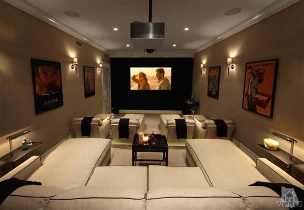 Home Cinema Seating Layout Lamps Tables
