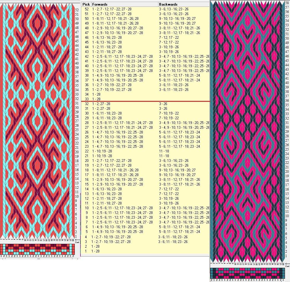 Enhebrados opuestos, movimientos coincidentes / 28 tarjetas, 3 colores,repite cada 32 movimientos // sed_854 & sed_854a diseñado en GTT༺❁