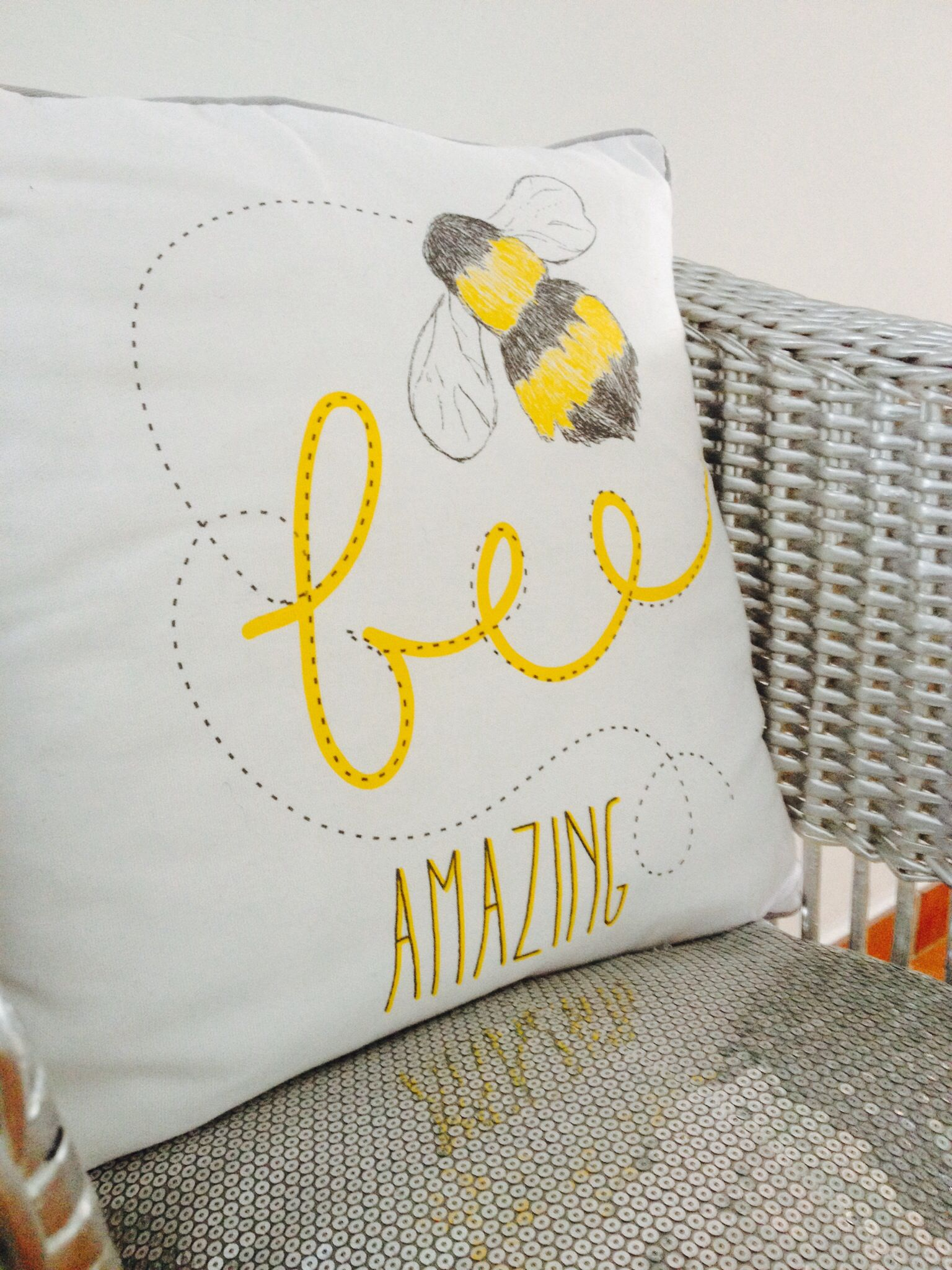 My Bedroom Decor In Grey White And Yellow The Bee Amazing Pillow Is From Primark And The Sequin Silver Pillow From Leroy Silver Pillows Pillows Throw Pillows