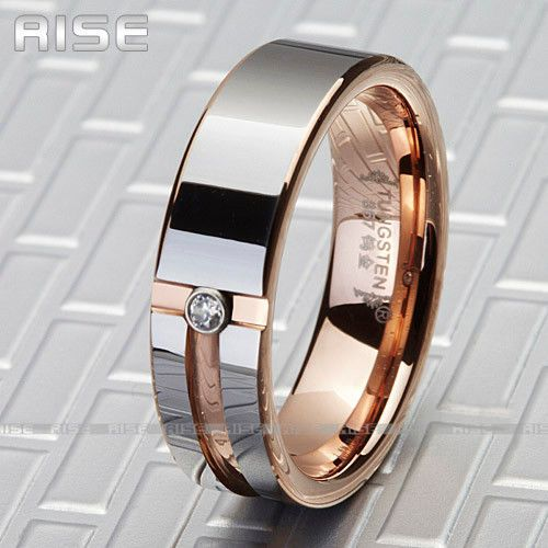 New Gift Men Women Tungsten Carbide Rose Gold Plate C Z Ring Wedding Band A72