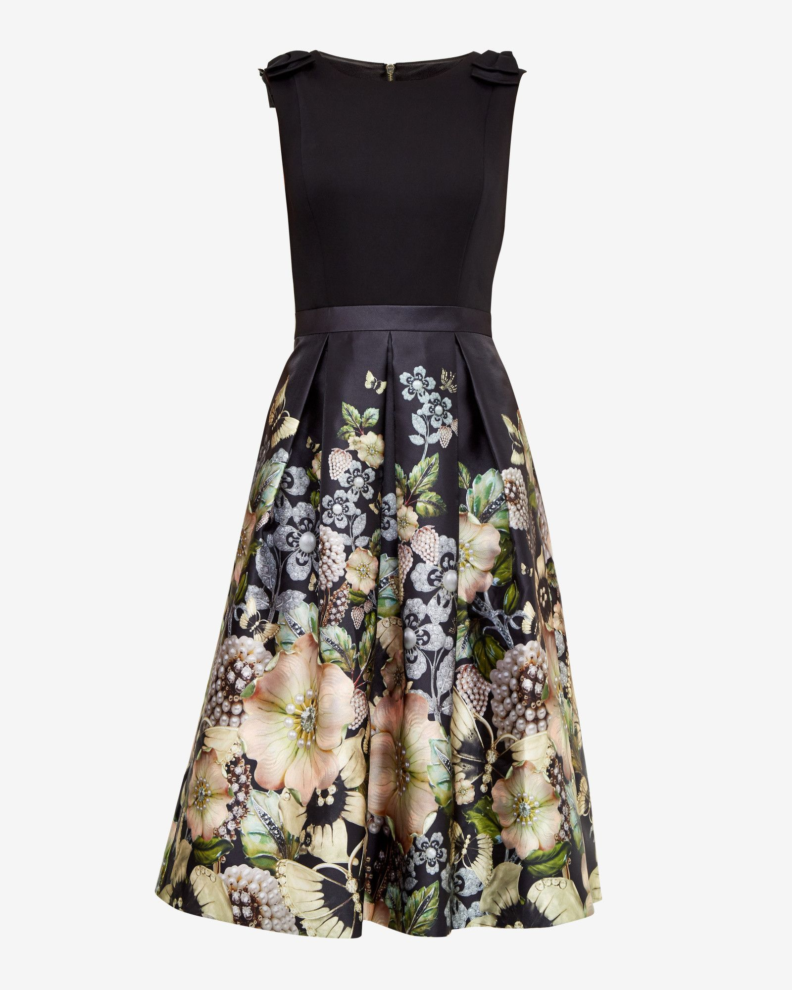 Gem Gardens pleated dress - Black  Dresses  Ted Baker UK  Bow