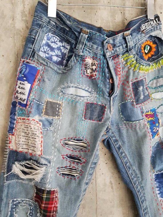 Distressed Vintage Boyfriend Jeans/Hipster Jeans/All Sizes/Grunge Jeans/boho/vintage jeans/womens jeans 1