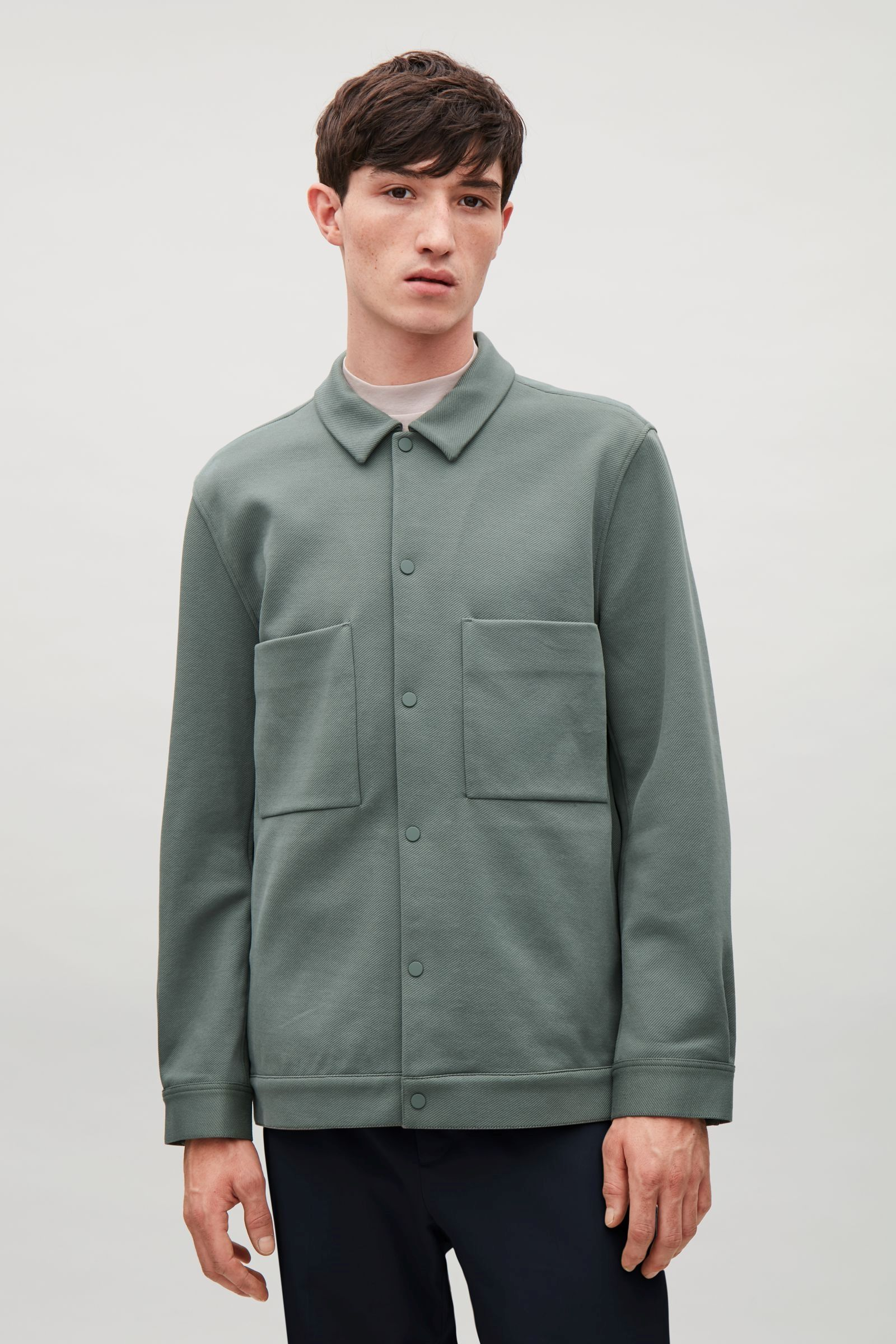 COS image 8 of Twill shirt jacket in Mint