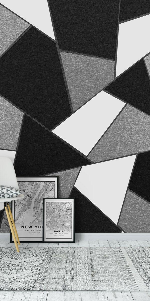 Silver Black White Geometric 1 Wall Mural Trendy