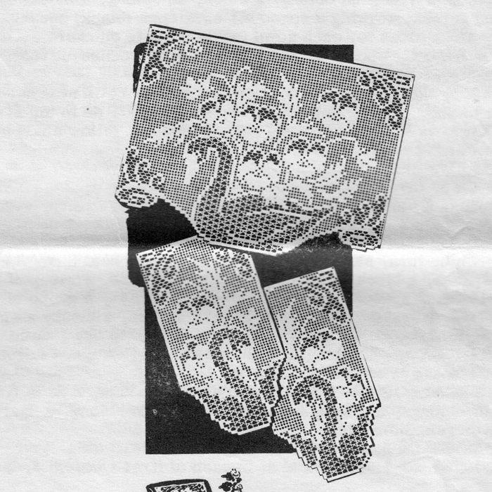 Filet Crochet Swan Pansy Doily Chair Set Pattern Design 900