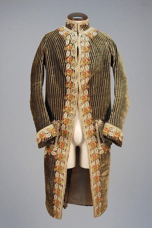 1770-1800    Lace Trimmed Velvet Court Coat   front