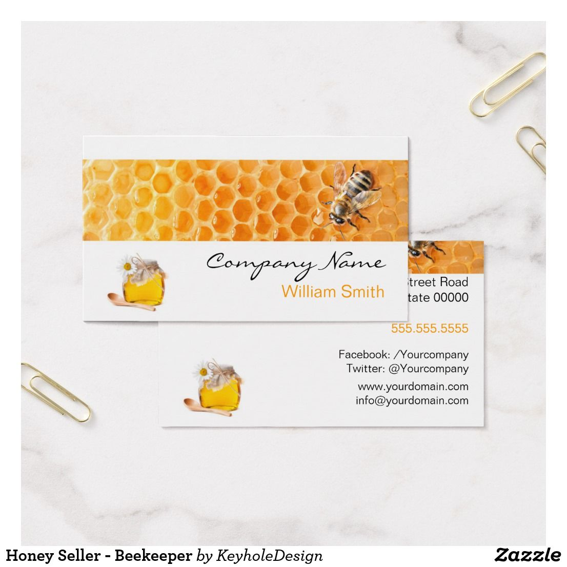 Honey Seller Beekeeper Business Card Bee