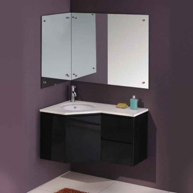 Vienna Bathroom Contemporary Wall Hung Corner Single Vanity Cabinet Black Corner Bathroom Vanity Floating Bathroom Vanities Corner Vanity