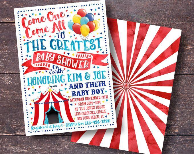 Circus Baby Shower Invitation with Circus Animals Circus Baby