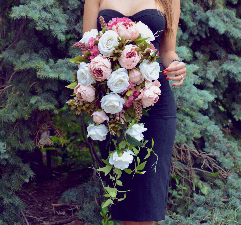 Cascading Wedding Bouquet Peony Bridal Bouquet Silk Flowers