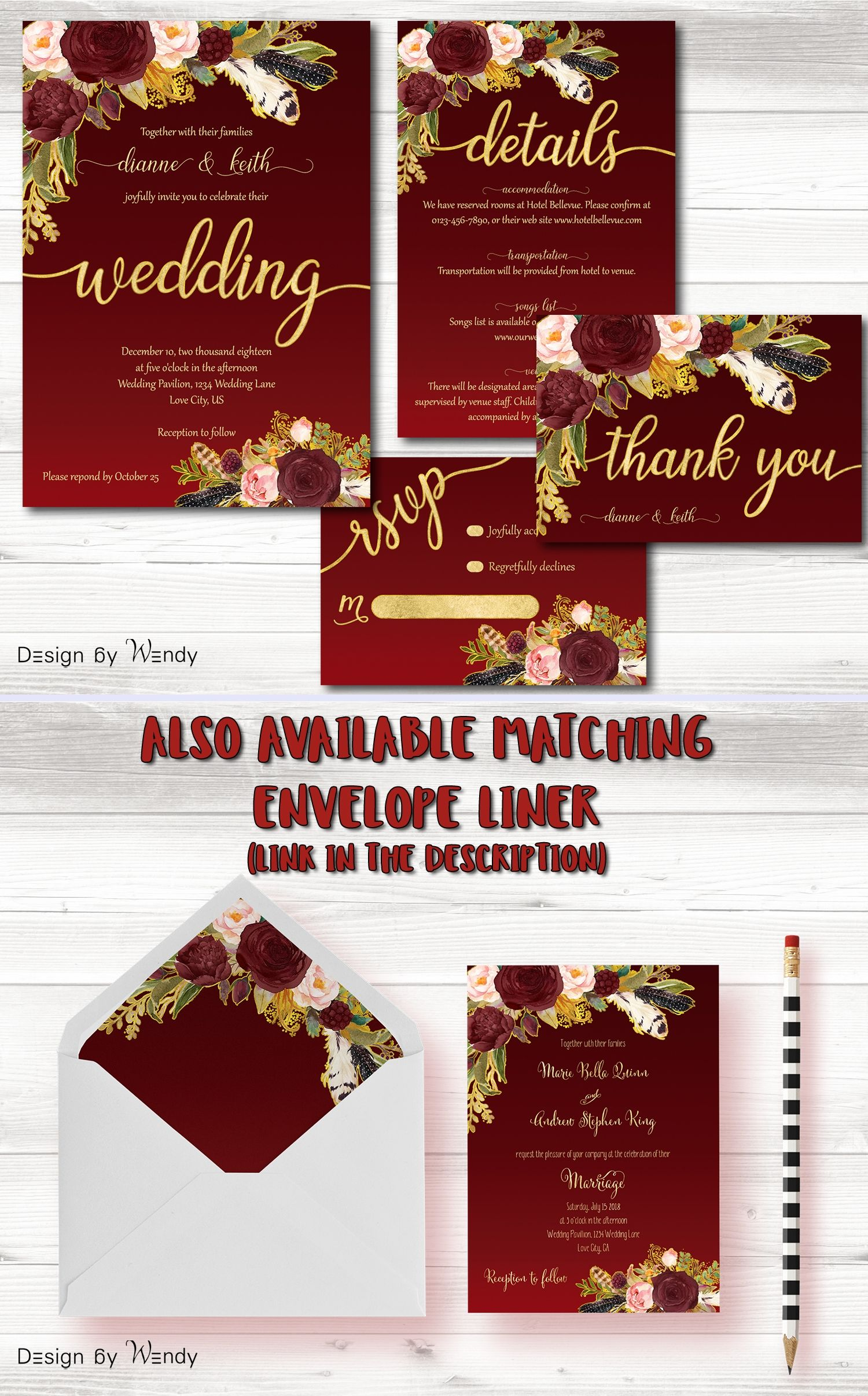 Burgundy and gold wedding invitation, boho wedding invite set ...