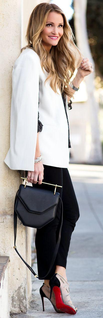 D K W Styling White Cape Blazer Fall Street Style Inspo