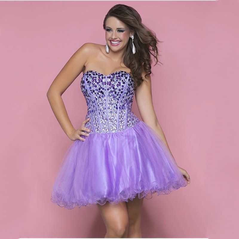 2015 Dazzling Short Lavender Homecoming Dresses With Exquisite ...