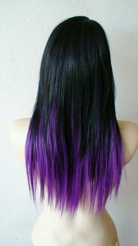 Jet black hair with purple tips   Hair, nails, & makeup ...