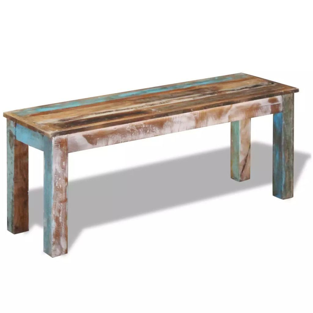 Solid Reclaimed Wood Bench, Retro Antique Style Dining Bench, 43-Inch Sturdy Backless Long Indoor and Outdoor Benches for Entryway, Picnic, Garden, Porch, Yard - Multicolour