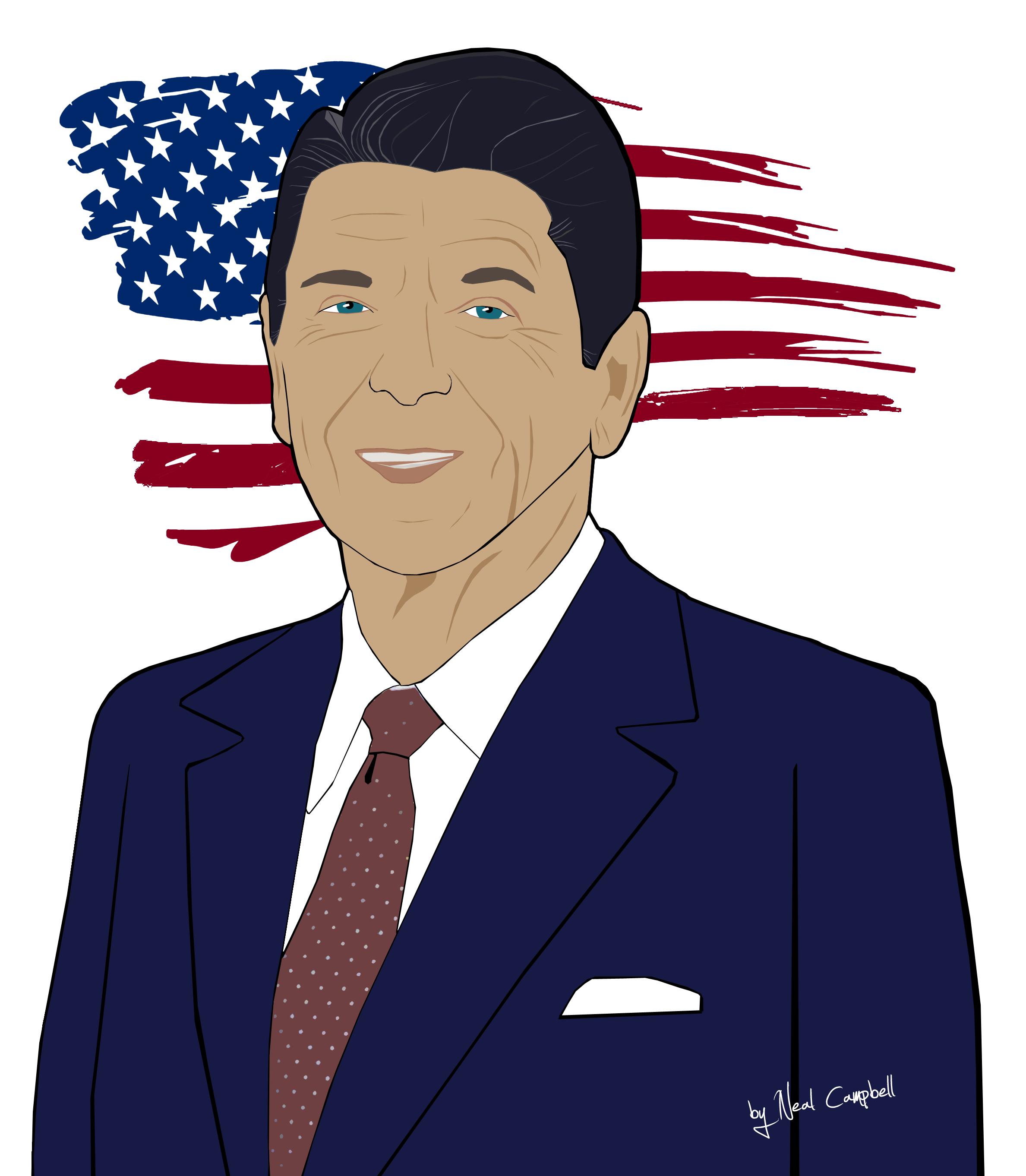 Ronald Reagan By Neal Campbell Ronald Reagan Portrait Cartoon