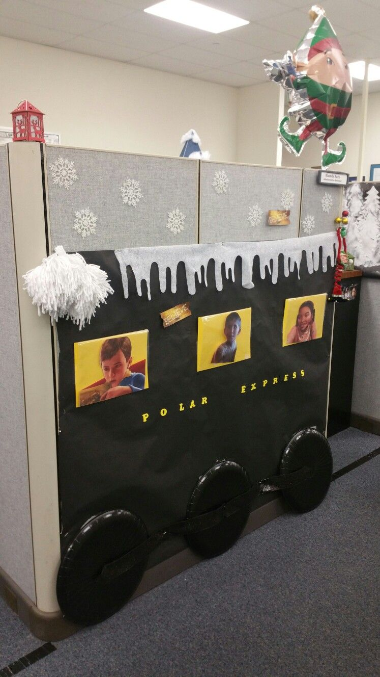 Polar Express Decorating cubicles at work for Christmas - Cubicle Halloween Decorations