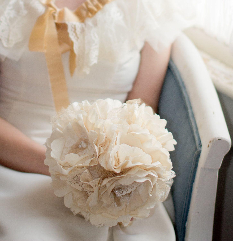 Fabric Bridal Bouquet Weddings Vintage Flower Wedding Fabric