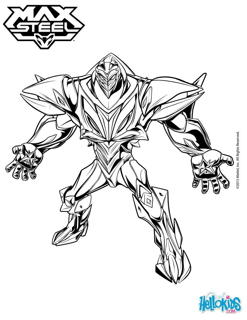 Ausmalbilder Superhelden: Turbo Energy Enemy Of Max Steel Coloring Sheet. More Max