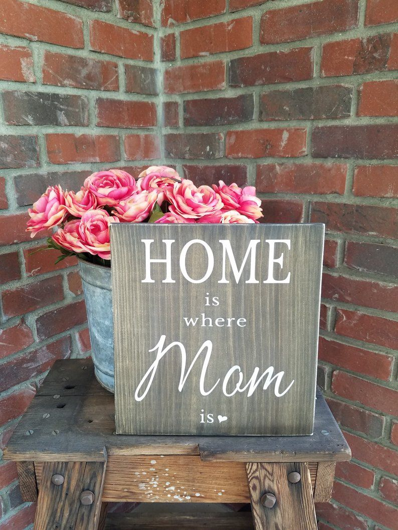 Home is where mom is sign rustic mom sign farmhouse