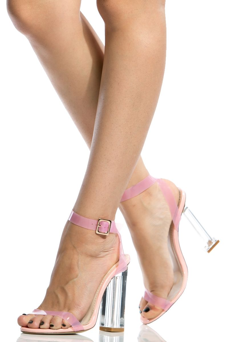 28fc82622a2f Pink Chunky Wrap Around Vinyl Heels   Cicihot Heel Shoes online store  sales Stiletto Heel Shoes