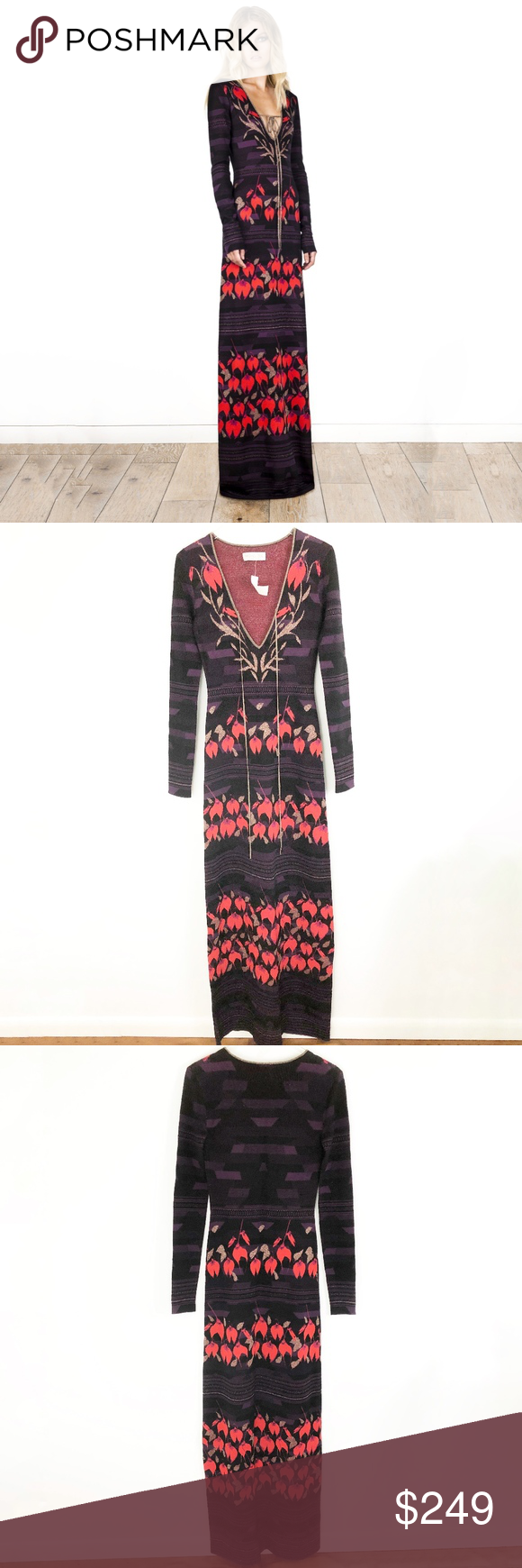 Sold Rachel Zoe Leaf Pattern Sweater Maxi Dress Sweater Maxi Dress Maxi Knit Dress Clothes Design [ 1740 x 580 Pixel ]
