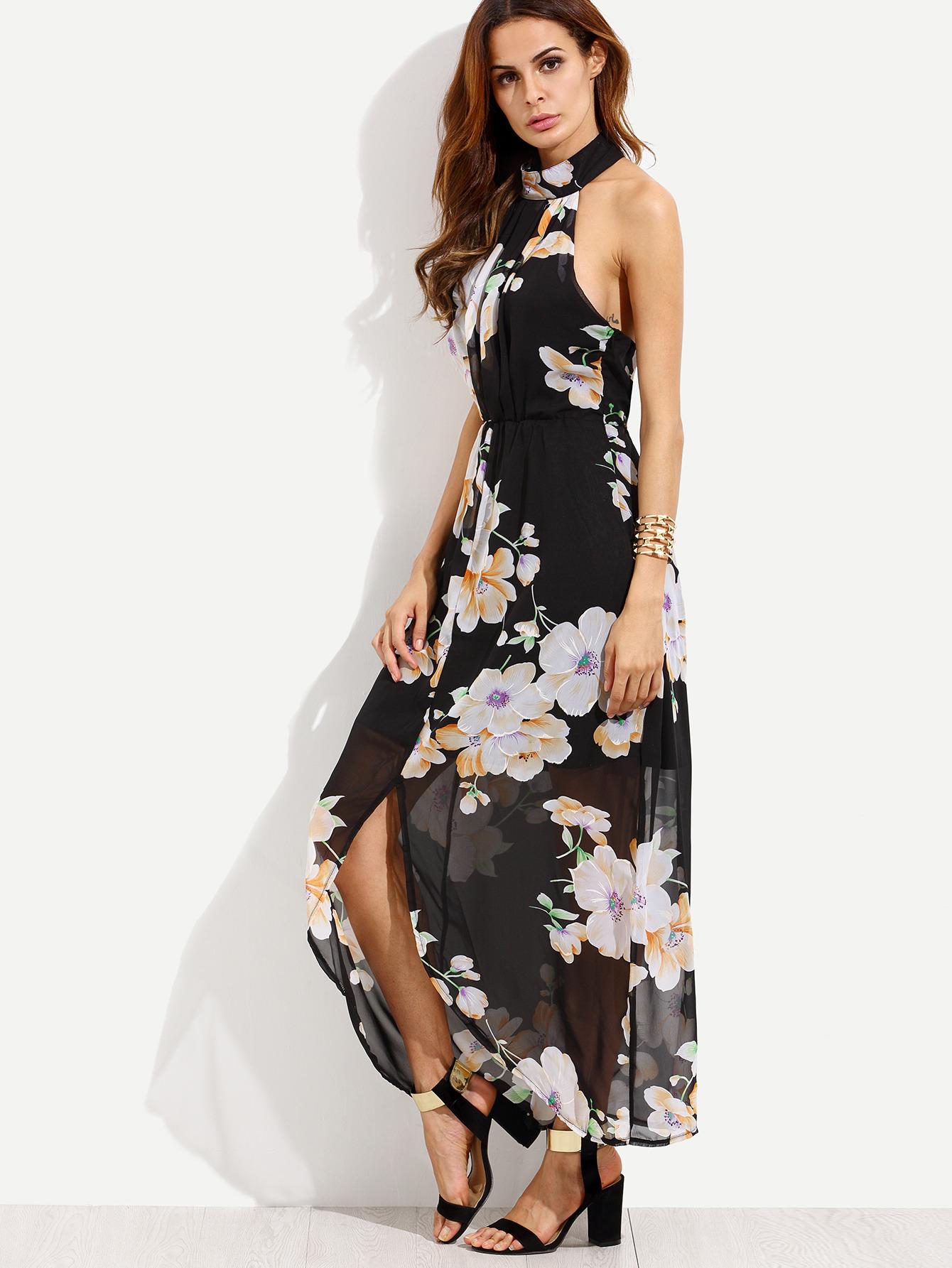 dd3a8a26b2 Shop Black Flower Print Halter Neck Slit Chiffon Dress online. SheIn offers…