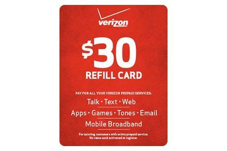 Verizon $30 Refill Card (mail delivery) | Prepaid Minutes in