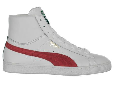 Puma Basket Classic Mid White Red Leather Trainers White ankle high leather  upper with large 387af53b6403