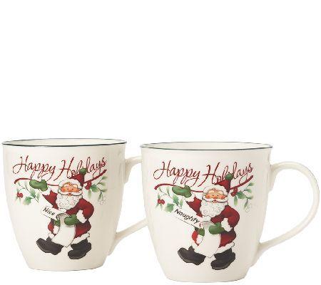 nice mug sets holiday pfaltzgraff winterberry naughty and nice mug set of christmas