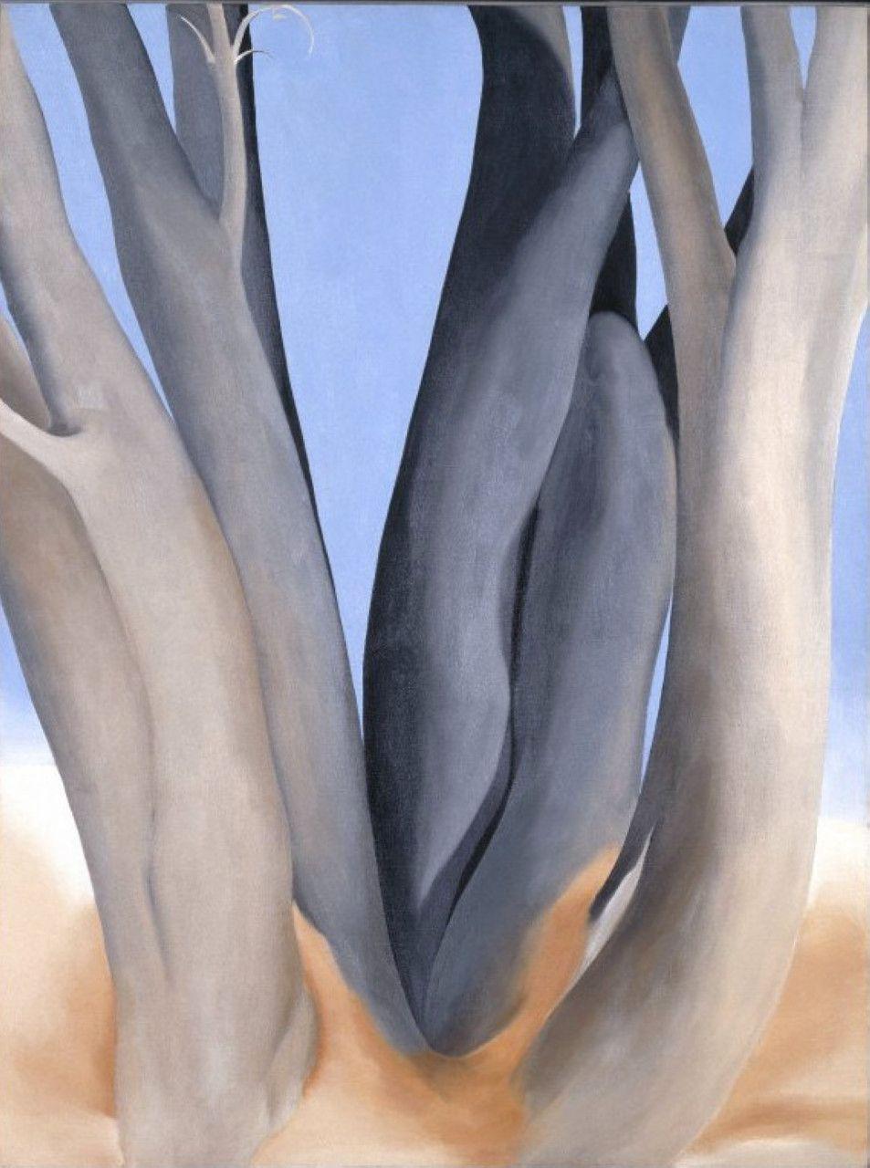 Dark tree trunks okeeffe art o