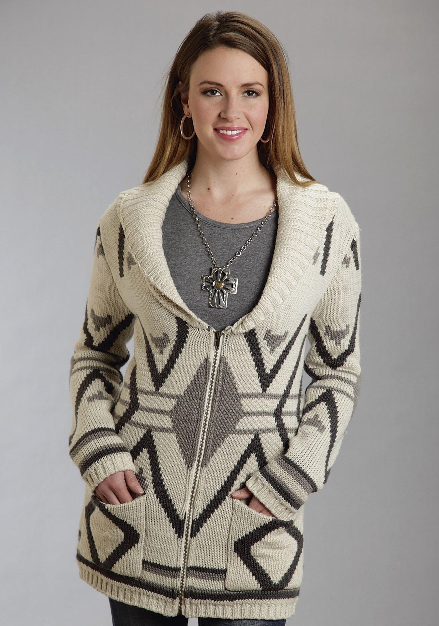 Stetson Womens Brown Wool Blend Aztec Intarsia Zipper Front Shawl ...