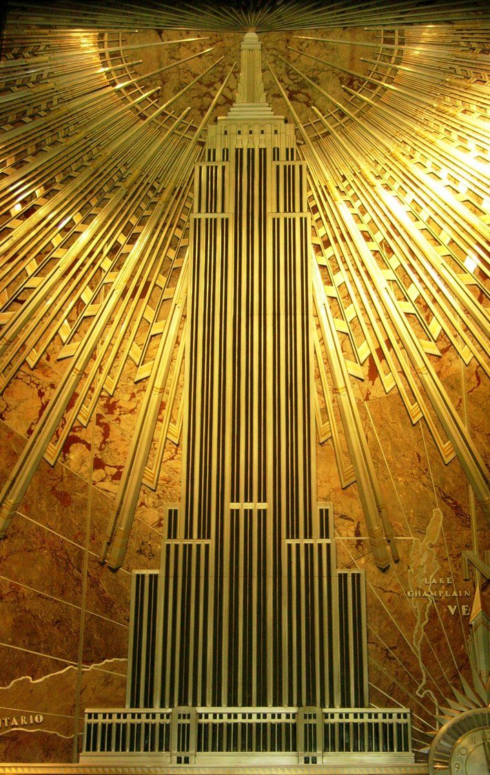 Art Deco metalwork inside the Empire State Building. | New York, New ...