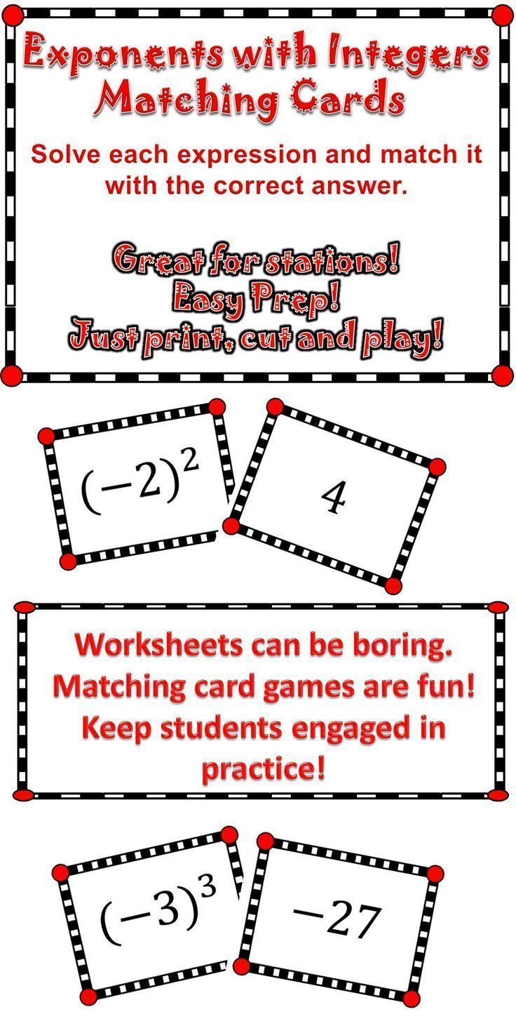 Exponents with Integers Integers, Math stations