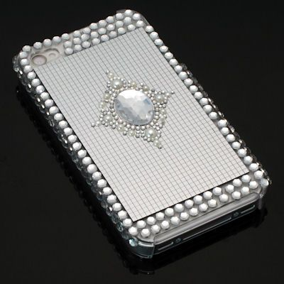 Bling Bling Crystal Back Cover and Screen Protector for iPhone 4 / 4S (Jewel)