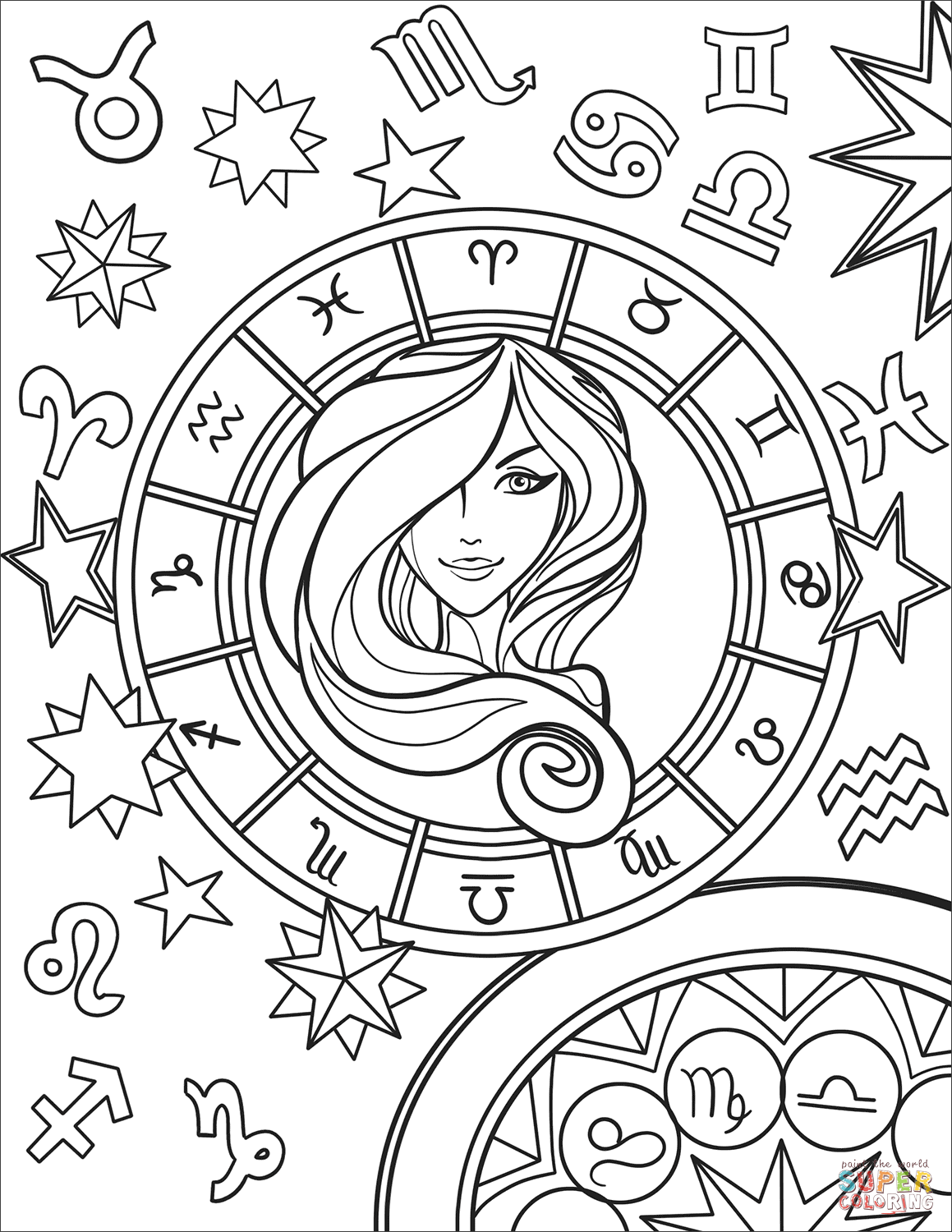 Virgo Zodiac Sign Super Coloring Coloring Pages Mandala Coloring Books Virgo Art