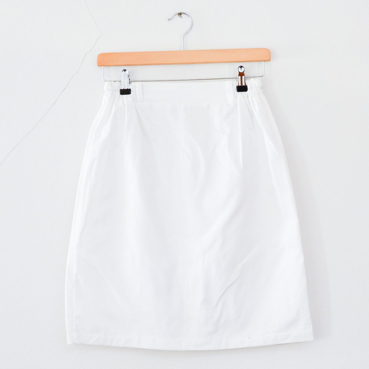 Vintage 1980s White Light Cotton Smart Summer Work Pencil Skirt