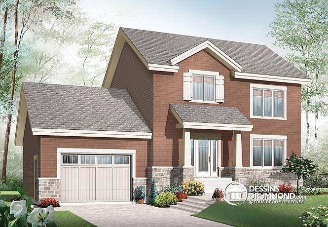 W2779-V1 - Plan de maison à étage de style Craftsman, 3 chambres