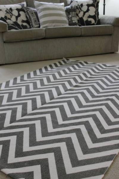 Large Chevron Floor Rug Cotton Grey And