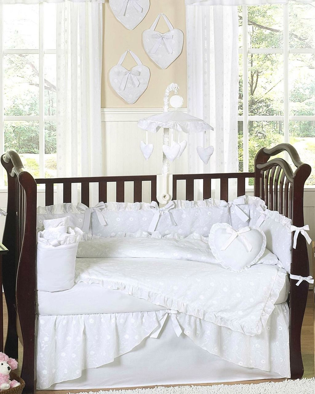 Eyelet White Crib Bedding 9 Piece Set