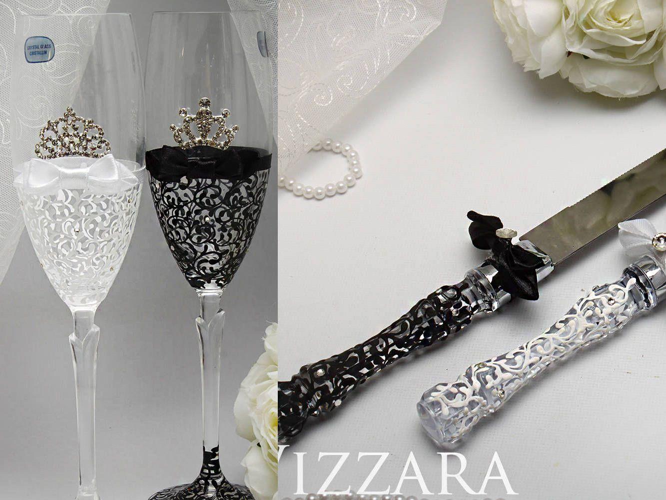 Bride and groom glasses Wedding cake serving sets Bridal champagne ...