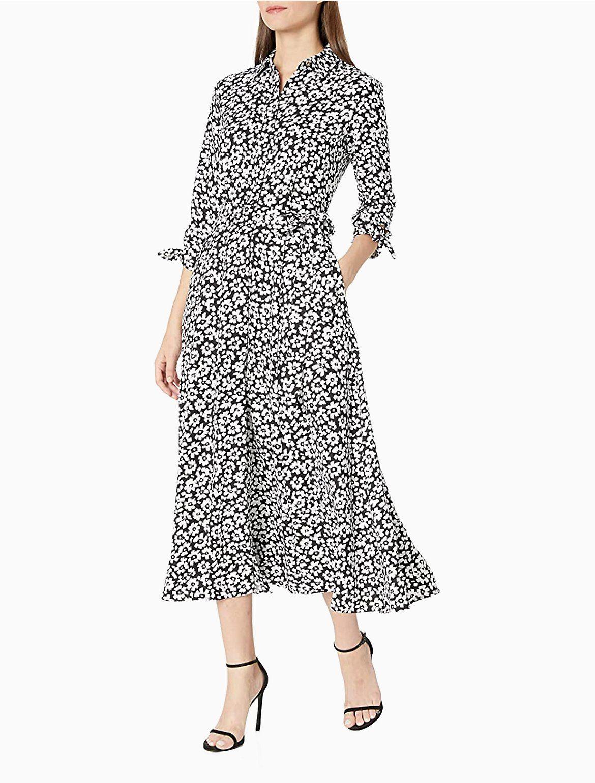 Floral 3 4 Sleeve Belted A Line Midi Shirt Dress Calvin Klein Maxi Dress With Sleeves Midi Shirt Dress Summer Dresses For Women [ 1541 x 1170 Pixel ]