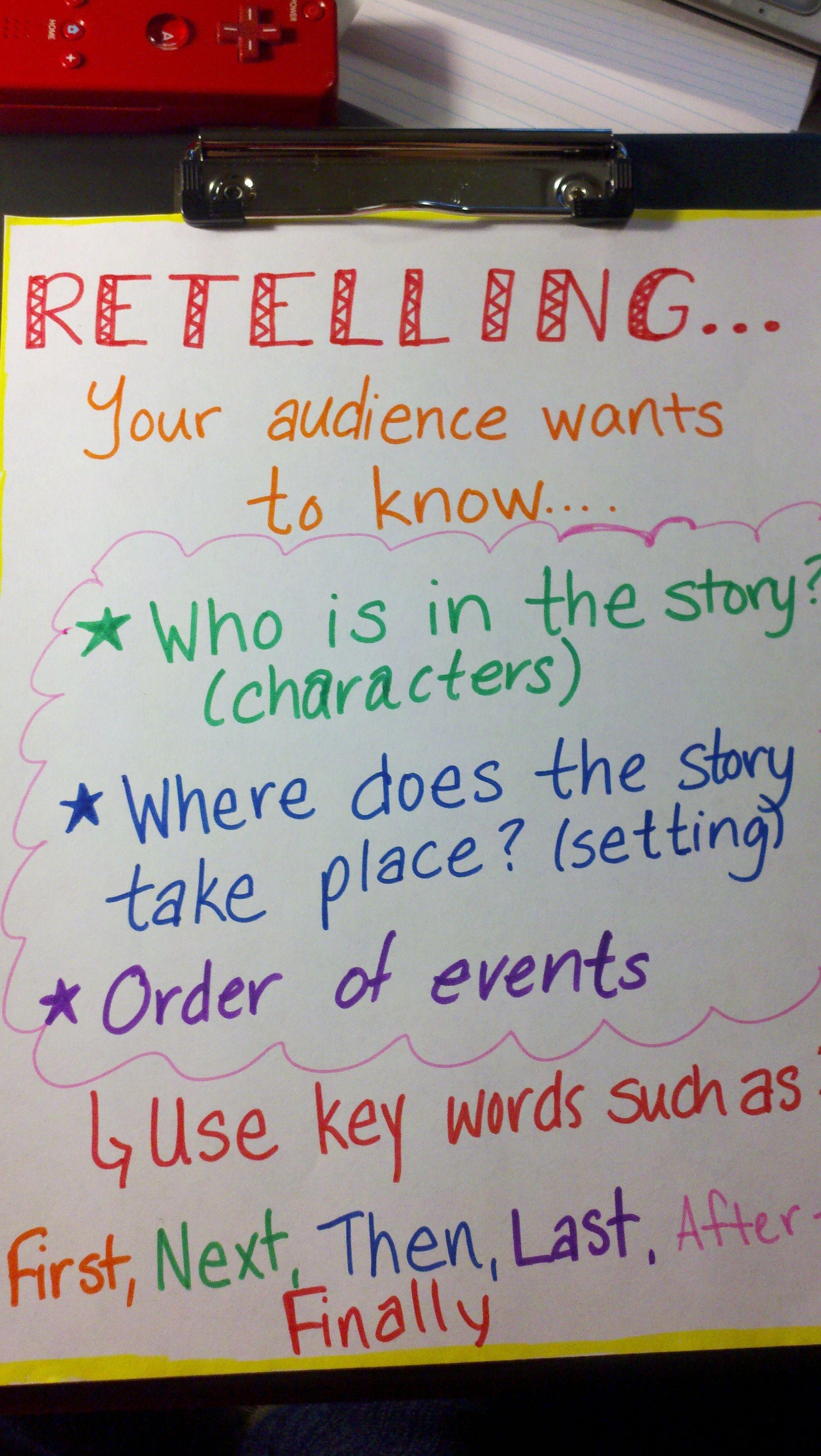 Retelling A Story Chart