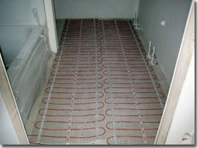 Etonnant Bathroom Heated Tile Floors | ... Floor Heating Mats Installed For Radiant Heated  Bathroom