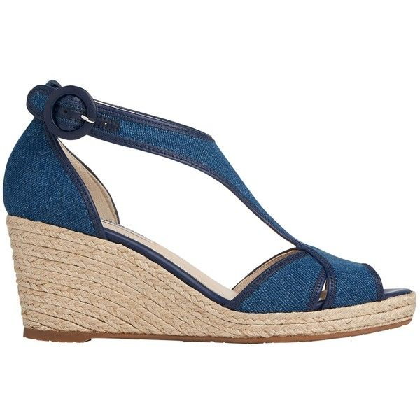 L.K. Bennett Kesha Wedge Heeled Sandals, Denim ($275) ❤ liked on Polyvore  featuring