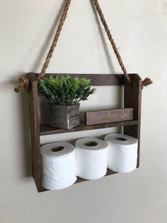 Photo of Hanging rope shelf, Rustic ladder style shelf, Bathroom shelves, bathroom organizer, rope hanging sh