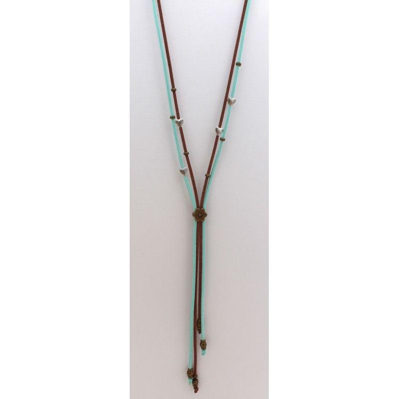 Parure en Nubuck et perles en métal
