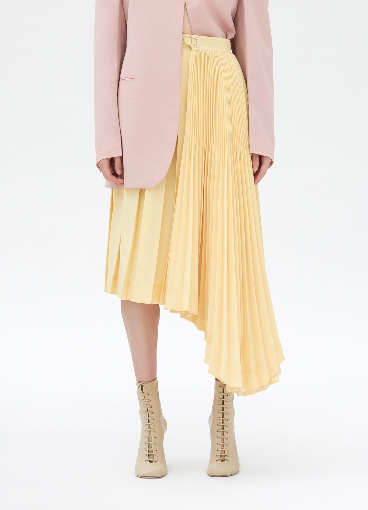 Asymmetrical pleated skirt in polyester fabric