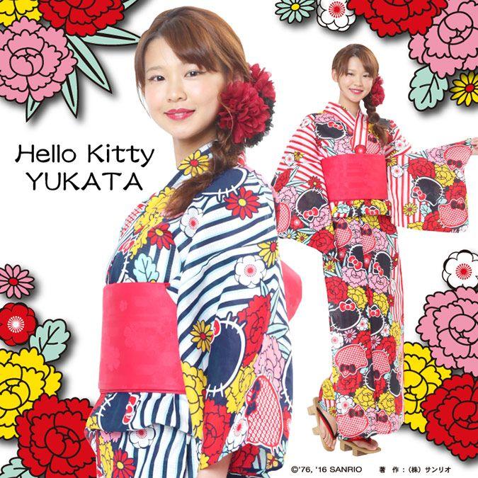 32d60d96ed5a1 hello kitty yukata - From sazac adults cute kitty yukata appeared! Stripe  Bold In Peony   Kitty Face Pattern Retro Modern and very gorgeous. ♡ 7900  JPY
